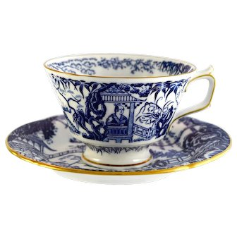 4 ROYAL CROWN DERBY Blue Mikado footed cup & saucer sets c1991-93