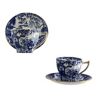 2 ROYAL CROWN DERBY Blue Mikado demitasse cup & saucer sets pointed handle c1940s
