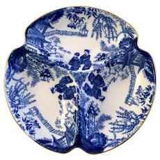 ROYAL CROWN DERBY Blue Mikado relish dish 3-part c1937
