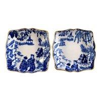 "2 ROYAL CROWN DERBY Blue Mikado 1803 trays 3"" square  c1944 1954"