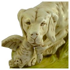 ROYAL DUX c1920s hunting dog or setter in bisque porcelain