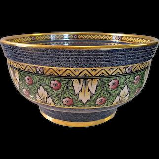 MINTON c1938 Art Deco 'Byzantine'  blue gilded pedestal bowl, Wadsworth, E4567