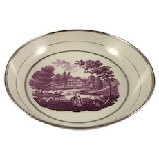 """SILVER LUSTER c1815 saucer dish """"Palladian House"""" (PAIR)"""