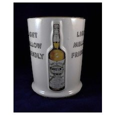 Vintage Martin's Original V.V.O. Brand Whiskey Ceramic Counter Display Holder