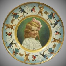 Wonderful Early Union Pacific Tea Company Tin Lithograph Plate with a Girl and Snowball Fight Border Premium