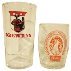 Vintage Pair of Beer Glasses Drewrys and Coors Sample
