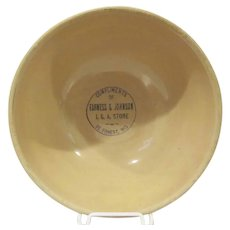 Early Yellow Ware Advertising Bowl Farness and Johnson I.G.A. Store DeForest, Wisconsin