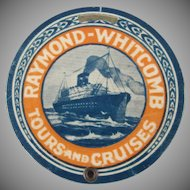 Raymond-Whitcomb Tours and Cruises Celluloid Luggage Tag