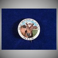 H.P. Hood & Sons Milk Celluloid Pinback with Cow