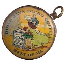 Dutch Java Coffee 2 Sided Celluloid Pendant