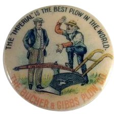 The Bucher & Gibbs Plow Co. Celluloid Pinback Button