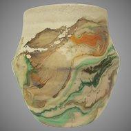 Nemadji Indian Pottery Horizontal Ribbed Small Pot or Vase