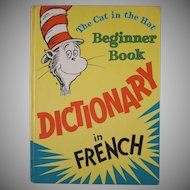 The Cat in the Hat Beginner Book Dictionary in French Hard Back Book