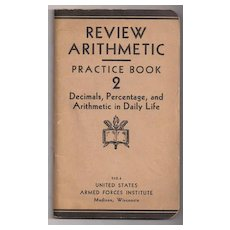 'Review Arithmetic Practice Book 2'  United States Armed Forces Institute paper back Book - Red Tag Sale Item