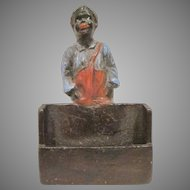 Cold Painted Cast Metal Black Americana Child Table Top Matchbook Holder
