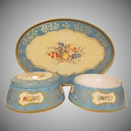 Vintage Tin Litho 3 Piece Baret Ware Dresser Tray and 2 Pieces from Chelsea Boudoir Set
