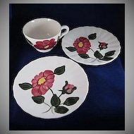 "Blue Ridge 'Red Nocturne Variant' Two 6"" Plates and a Cup"