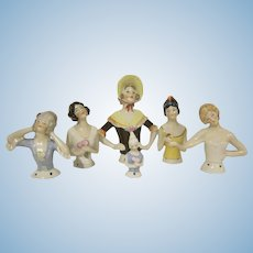 Vintage Group of 6 Made in Germany Half Dolls Glazed Bisque