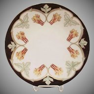 Jean Pouyat Limoges France China Plate with Columbines 1906