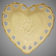 Lenox China Heart Shaped Trinket Dish with a Rose