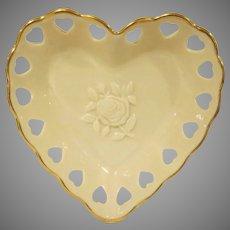 Lenox China Heart Shaped Trinket Dish with a Rose