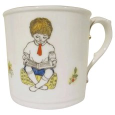 Royal Worcester Child's Cup or Mug Wednesday's Child Boy Reading a Book