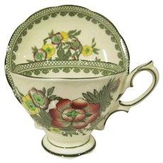 Vintage Royal Albert Bone China England Green Canton Cup and Saucer