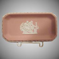 Wedgwood Pink Jasperware Pin Dish Tray with the Greek God of Medicine Aesculapius
