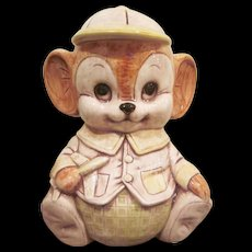 Vintage Treasure Craft Pottery Boy Mouse Holding an Airplane Cookie Jar