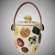 Cookies All Over Covered Biscuit Jar Made in Japan with Rattan Handle