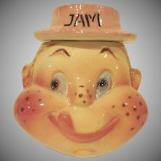 Mid Century American Bisque Freckled Face Girl Jam Condiment Jar