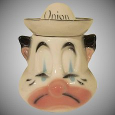 Mid Century American Bisque Pottery Crying Clown Onion Condiment Jar