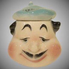Mid Century American Bisque Pottery French Man Wearing a Beret Relish Condiment Jar