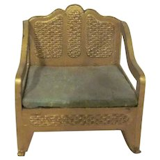 """Tootsie Toy 1/2"""" Faux Wicker Gold Rocking Chair Dollhouse Furniture"""