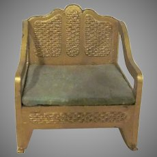 "Tootsie Toy 1/2"" Faux Wicker Gold Rocking Chair Dollhouse Furniture"
