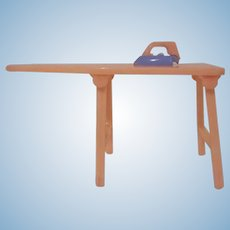 """Renwal 3/4"""" No. 32 Pink Ironing Board with a Blue and Pink Iron Dollhouse Furniture"""