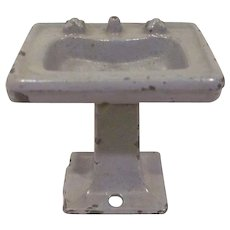 "Kilgore 1/2"" Cast Iron Pedestal Bathroom Sink Dollhouse Furniture"