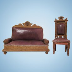 "Schneegas 1"" Golden Oak and Leather Sofa and Chair Dollhouse Furniture"
