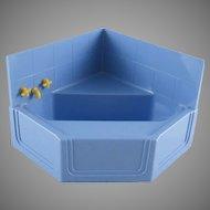 "Ideal 3/4"" Hard Plastic Corner Tub with Wall Piece Dollhouse Furniture"