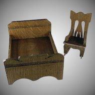 "Star Novelty Works 1-1/4"" Bed and Rocker c1910 Dollhouse Furniture"