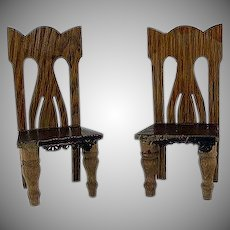 "Star Novelty Works 1-1/4"" Pair of Chairs c1910 Dollhouse Furniture"