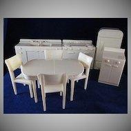 "Marx 3/4"" Hard Plastic Kitchen 9 Pieces COMPLETE Dollhouse Furniture"