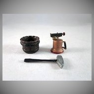 Group of 3 Lead Miniatures Great for the Garage Dollhouse Accessories