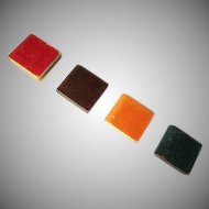 Group of 4 Textured Paper Covered Celluloid Books Dollhouse Accessories