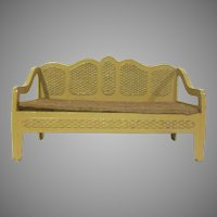 "Tootsie Toy 1/2"" Faux Wicker Sofa in Tan with Brown Flocked Seat Dollhouse Furniture"