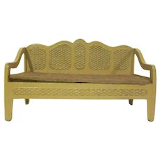 """Tootsie Toy 1/2"""" Faux Wicker Sofa in Tan with Brown Flocked Seat Dollhouse Furniture"""
