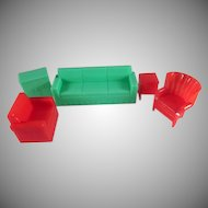 "Marx 1/2"" Hard Plastic Living Room 5 Pieces Dollhouse Furniture"