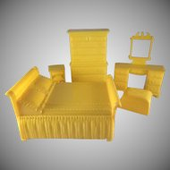 "Marx 3/4"" 5 Bedroom Pieces Hard Plastic Dollhouse Furniture"