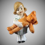 Sweet Made in Germany Bisque Little Girl Holding a Teddy Bear Dollhouse Figure