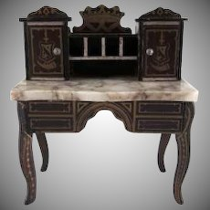 "Biedermeir 1"" Marble Top Desk Dollhouse Furniture"